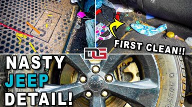 Super Cleaning a NASTY Jeep! | Complete Interior Exterior & Engine Bay Disaster Detail!